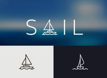 Sailing Icon, Simple Monoline ...