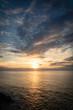 beautiful sunset on atlantic coastline in basque country, socoa, france, creative background