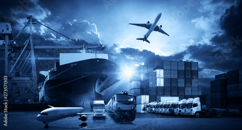 Global business of Container Cargo freight train for Business logistics concept, Fototapet