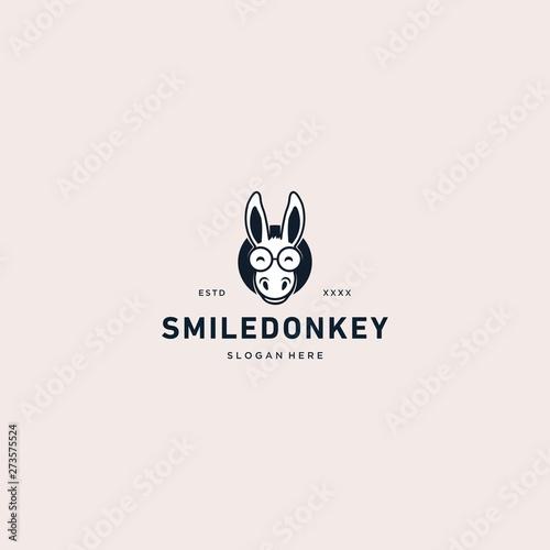 Fotografia Smile donkey logo vector illustration
