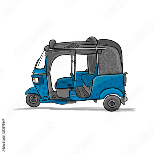 Fotografering Tuktuk, motorbike asian taxi. Sketch for your design