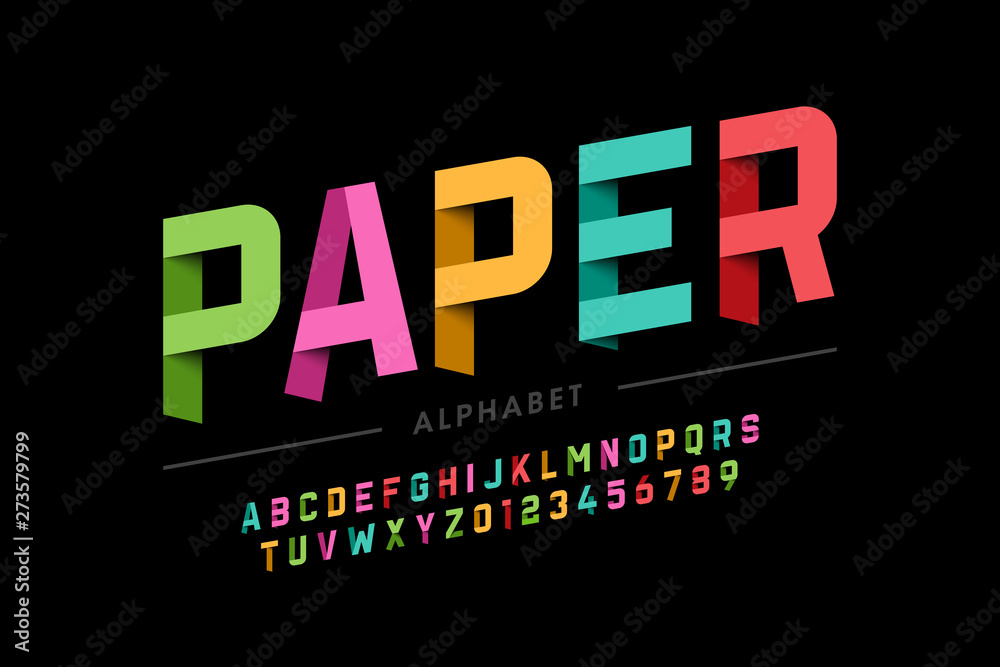 Fototapeta Origami style font design, paper folding alphabet letters and numbers