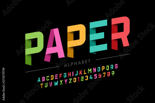 Origami style font design, paper folding alphabet letters and numbers Fototapet