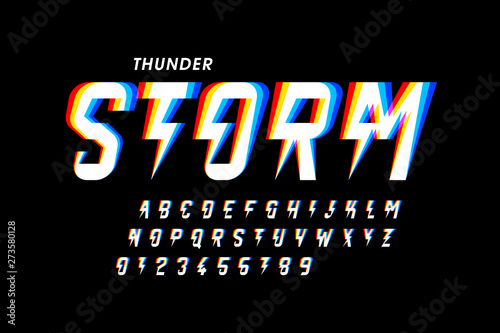 Carta da parati  Thunder storm style font design, alphabet letters and numbers