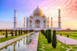 Taj Mahal Agra with moody sunrise sky. A UNESCO World Heritage site at Agra India