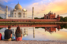Taj Mahal Agra At Sunset With ...