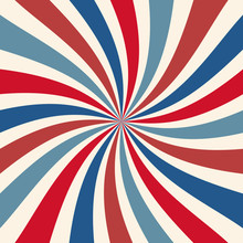Red White And Blue Retro Sunburst Background Pattern For July 4th Or Memorial Day Graphic Art Designs With Spiral Stripes