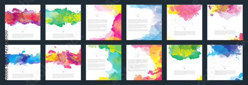Fototapety, obrazy: Colorful vector watercolor background template set for brochure, poster or flyer