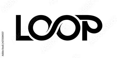 Photo Loop logo. Vector ribbon lettering isolated on white background