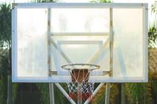 Old Basketball Backboard And Hoop Outdoor Court