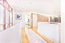 Wooden Hallway In A Modern Chic Looking House, Wealthy Property Development.