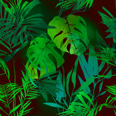 Fototapetaimprints bamboo, monstera, palm tree leaves mix repeat seamless pattern. digital hand drawn picture with watercolour