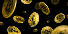 Gold Bitcoin Coins Flying On A...