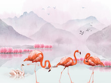 Landscape Illustration, Hills, Flock Of Birds In The Air, Pink Trees, A Pair Of Swans In The Lake, Three Flamingos In The Foreground