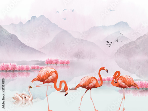 Naklejki Flamingi  naklejka-na-wymiar-landscape-illustration-hills-flock-of-birds-in-the-air-pink-trees-a-pair-of-swans-in-the-lake-three-flamingos-in-the-foreground