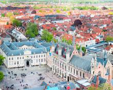 Burg Square In The Historic Center Of Bruges, Belgium. De Burg