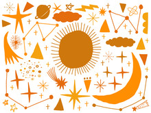 Vector Set Sketch Naive Hand Drawn With Space, Star, Cloud, Sun, Moon, Comet. Doodle Style. Elements For Design.