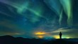 the man standing on the mountain on the northern light background time lapse 4k