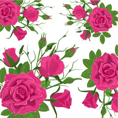 Seamless Flower Pattern. Vintage Pink Roses with Green Leaves. Floral Decorat...