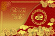 Chinese new year 2020 greeting card wth cute rat, zodiac sign, paper cut style on red background.