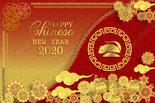 Obraz Chinese new year 2020 greeting card wth cute rat, zodiac sign, paper cut style on red background. - fototapety do salonu