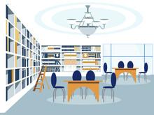 Library Building Room Interior Vector Illustration Flat