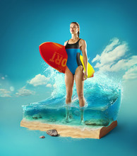 Travel And Vacation Background. 3d Illustration With Cut Of The Ground And The Beautiful Sea Underwater. Female Surfer Standing In The Baby-sea Isolated On Blue.