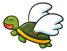 Cute And Funny Turtle Flying With Wing - Vector