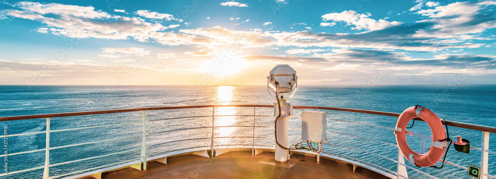 Fototapety, obrazy: Summer cruise vacation concept. Panoramic view of the sea with a beautiful sunset just above the horizon.