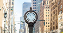 New York, Manhattan 5th Ave. Skyscrapers And Big Clock