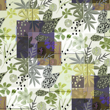 Stylish Seamless Floral Retro Pattern. Blue, Green Flowers, Leaves On A Light Background.