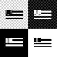 American Flag Icon Isolated On Black, White And Transparent Background. Flag Of USA. Vector Illustration