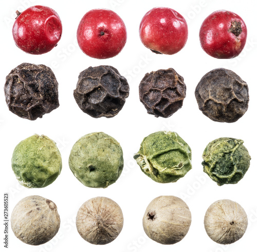 Fototapeta Black, white, green and red peppercorns isolated on white background. obraz