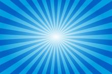 Sunburst Retro Sun Rays Blue Background. Abstract Summer Sunny. Vintage Radial Texture. Vivid Color.
