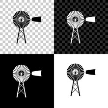 Windmill Icon Isolated On Black, White And Transparent Background. Vector Illustration