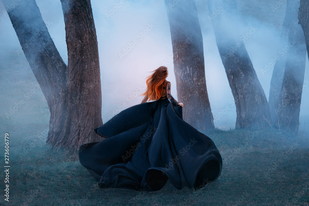 Fototapety, obrazy: black widow in a long dark silk lace dress, a girl with gorgeous light red hair runs off into a secret forest, the sorceress turns into a wild flower, queen of night hiding from the morning sunlight