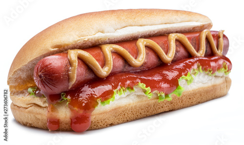 Fotografie, Tablou Hot dog - grilled sausage in a bun with sauces isolated on white background