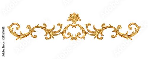 Obraz na plátně  Gold ornament baroque style vignette