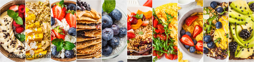 Photo Collage of varied healthy breakfasts.