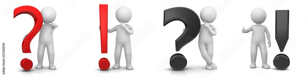Fototapety, obrazy: question mark exclamation point red and black q and a faq sign symbol icon set 3d rendering with white stick figure man person isolated