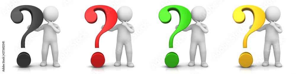 Fototapety, obrazy: question  mark man person interrogation point stick figure black red green gold sign symbol query icon set thinking asking character isolated on white