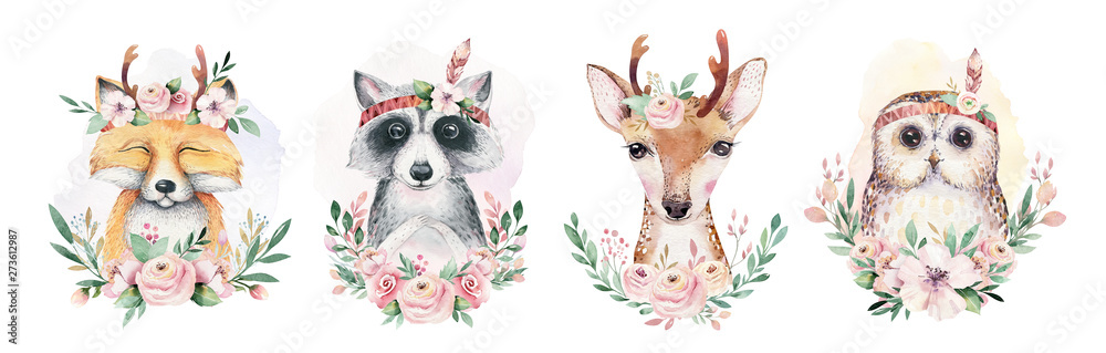 Fototapeta Watercolor set of forest cartoon isolated cute baby fox, deer, raccoon and owl animal with flowers. Nursery woodland illustration. Bohemian boho drawing for nursery poster, pattern