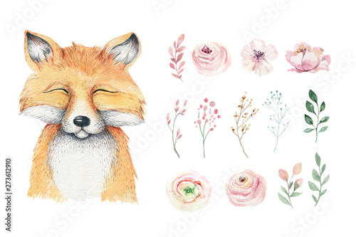 Obraz Watercolor forest cartoon isolated cute baby fox, animal with flowers. Nursery woodland illustration. Bohemian boho drawing for nursery poster, pattern - fototapety do salonu