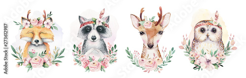 Obraz Watercolor set of forest cartoon isolated cute baby fox, deer, raccoon and owl animal with flowers. Nursery woodland illustration. Bohemian boho drawing for nursery poster, pattern - fototapety do salonu