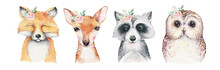 Watercolor Set Of Forest Cartoon Isolated Cute Baby Fox, Deer, Raccoon And Owl Animal With Flowers. Nursery Woodland Illustration. Bohemian Boho Drawing For Nursery Poster, Pattern