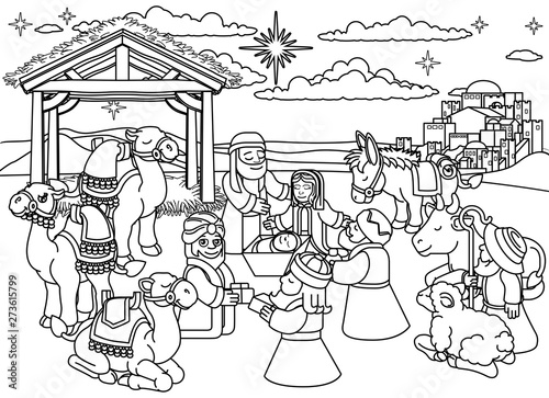 A Christmas nativity coloring scene cartoon, baby Jesus ...