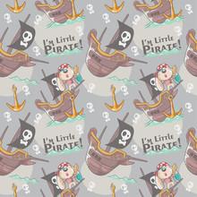 Cute Dog Cartoon Little Pirate Seamless Pattern