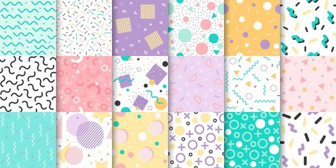 Set of Memphis seamless pattern with Geometric element