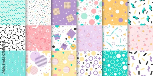 Deurstickers Kunstmatig Set of Memphis seamless pattern with Geometric element