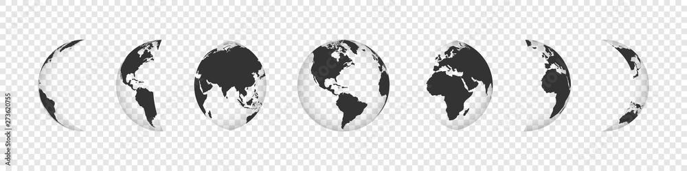 Fototapety, obrazy: Earth Globe Collection. Black earth globes icons isolated on transparent background